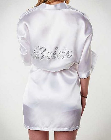 Satin Rhinestone Bride Robe from Spencer's Gifts