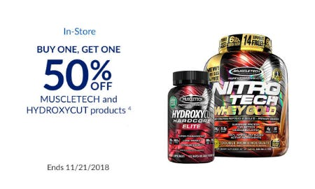 BOGO 50% Off Muscletech & Hydroxycut Products from The Vitamin Shoppe