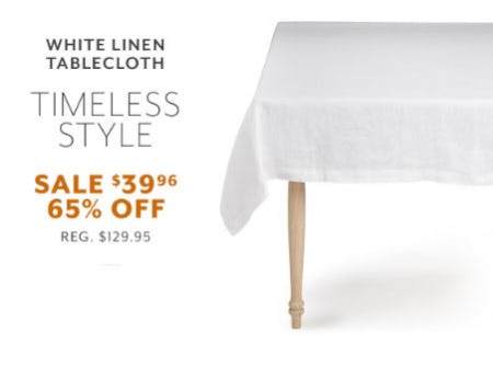 65% Off White Linen Tablecloth from Sur La Table