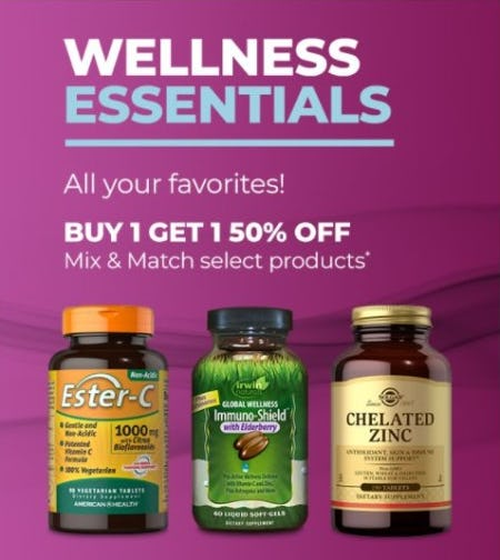 BOGO 50% Off Mix and Match Select Products from Vitamin World