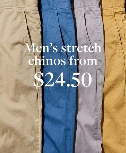 Men's Stretch Chinos from $24.50 from J.Crew