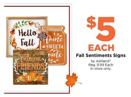 $5 Fall Sentiments Signs