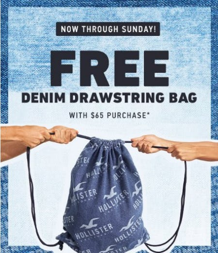 Free Denim Drawstring Bag With 65 Purchase