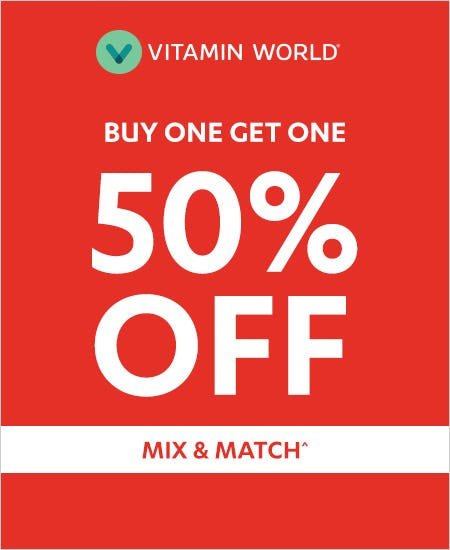 """Love Your Health!"" BOGO 50% off Mix & Match from Vitamin World"
