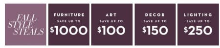 Fall Style Steals up to $1000 Off