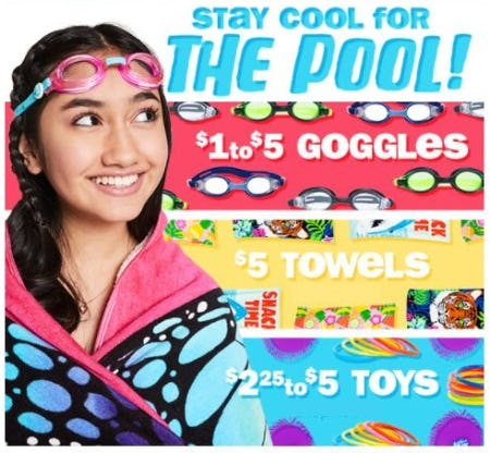 $1 to $5 Goggles, $5 Towels and $2.25 to $5 Toys from Five Below