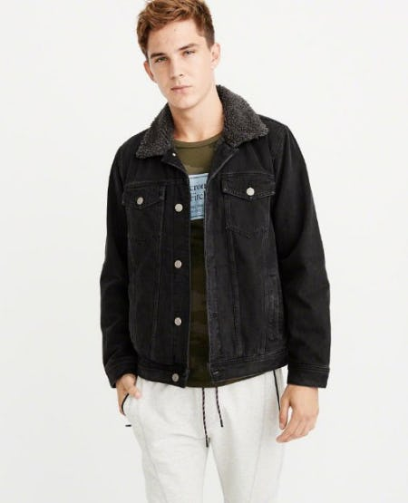 Sherpa Black Denim Jacket from Abercrombie & Fitch