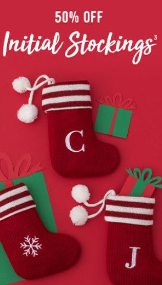50% Off Initial Stockings from Things Remembered