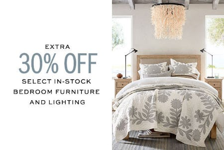 Extra 30 Off Bedroom Furniture Lighting At Pottery Barn The