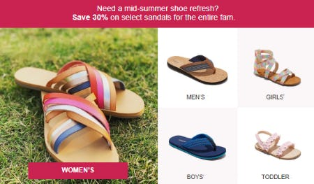 Save 30% on Select Sandals