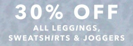30% Off All Leggings, Sweatshirts and Joggers from Aerie