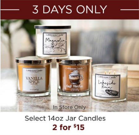 Select 14oz Jar Candles 2 for $15 from Kirkland's Home