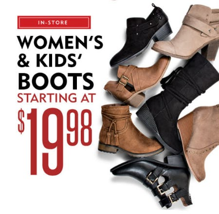 Women's & Kids' Boots Starting at $19.98 from Shoe Carnival