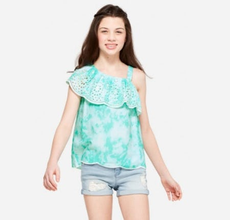 One Shoulder Ruffle Top from Justice