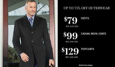 Up to 75% Off Outerwear from Jos. A. Bank