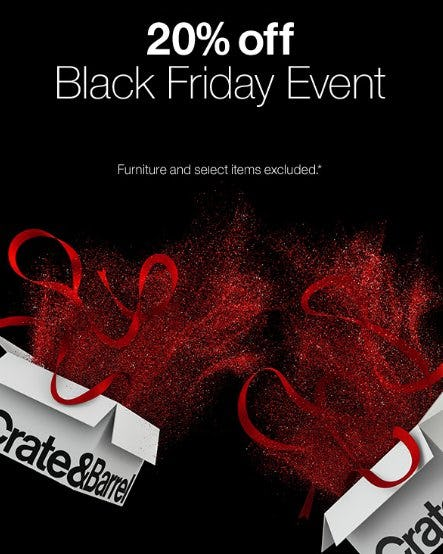 20% Off Black Friday Event from Crate & Barrel