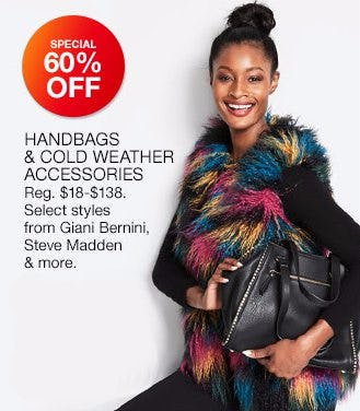 60% Off Handbags & Cold Weather Accessories