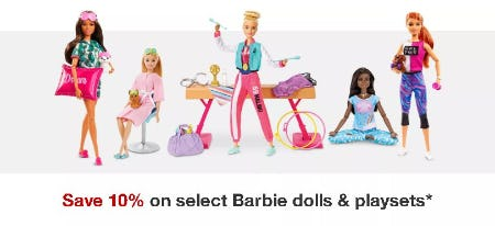 Save 10% on Select Barbie Dolls & Playsets from Target