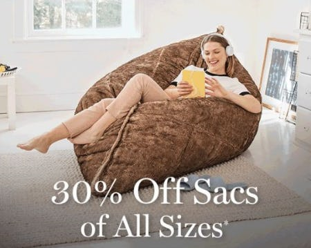 30% Off Sacs of All Sizes from Lovesac Designed For Life Furniture Co