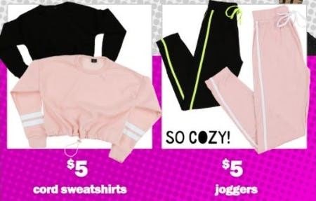 $5 Cord Sweatshirts & $5 Jogger Pants from Five Below