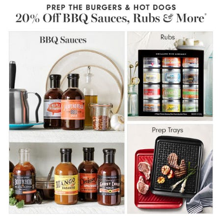 20% Off BBQ Sauces, Rubs & More from Williams-Sonoma