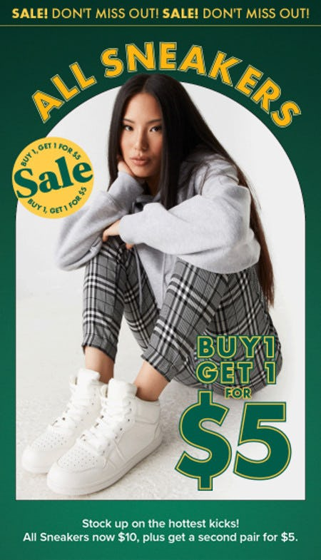 All Sneakers Buy 1, Get 1 for $5 from Charlotte Russe