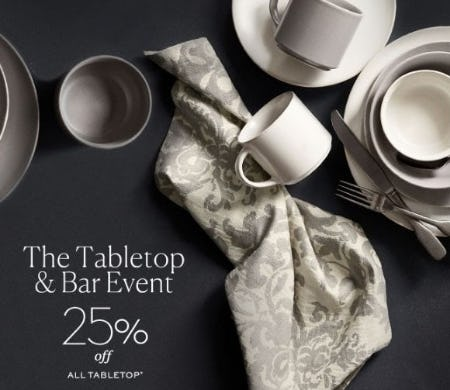 25% Off All Tabletop from Pottery Barn