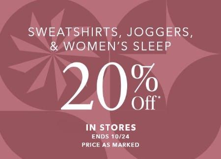 20% Off Sweatshirts, Joggers, & Women's Sleep from Athleta