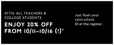 All Teachers & College Students 20% Off from Madewell
