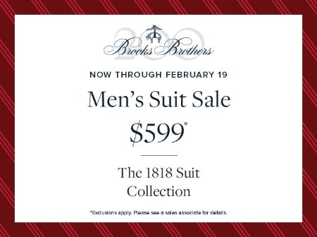 Now through February 19 from Brooks Brothers