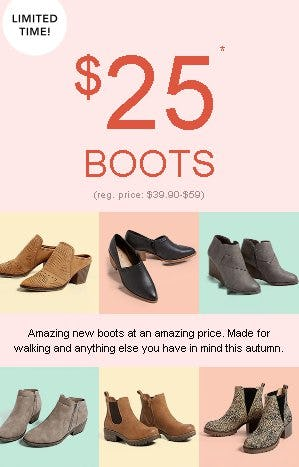 $25 Boots from maurices