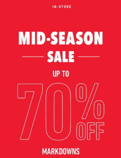 Up to 70% Off Mid-Season Sale