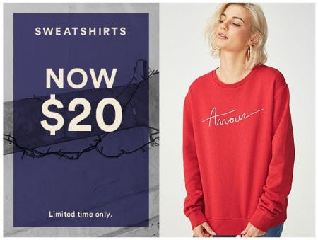Sweatshirts Now $20 from Cotton On