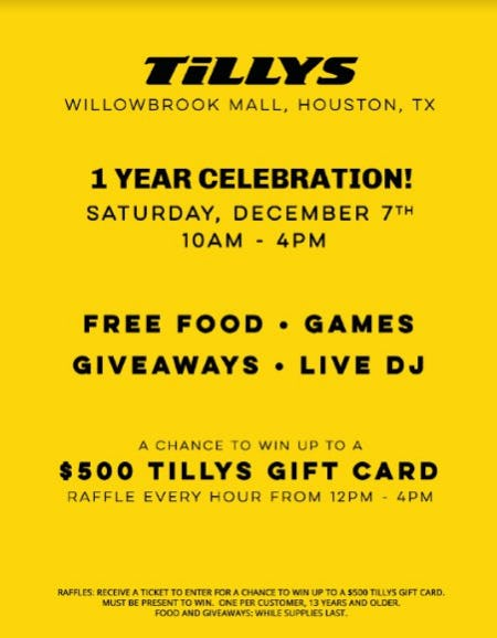 Tillys, Willowbrook- Anniversary Party on 12/7 from Tillys