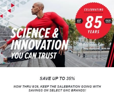 Up to 35% Off Select GNC Brands from GNC