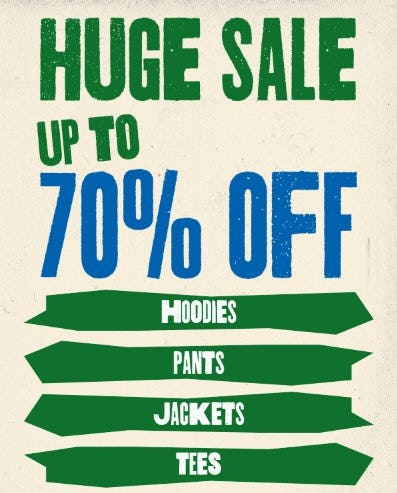 Huge Sale up to 70% Off from Zumiez