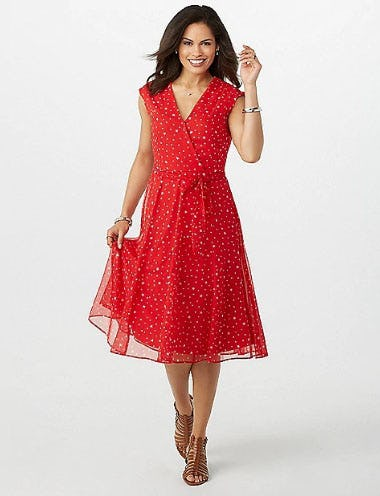 Chiffon Star Faux Wrap Dress from Dress Barn, Misses And Woman
