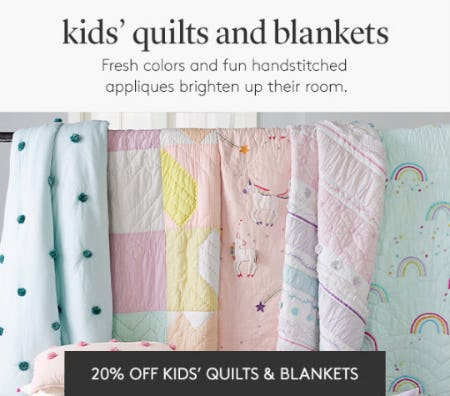 20% Off Kids' Quilts & Blankets from Pottery Barn Kids
