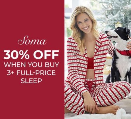 B3G30% OFF SLEEP from Soma Intimates