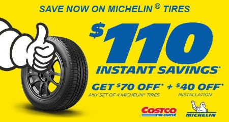 $110 Instant Savings on Michelin Tires from Costco