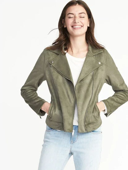 Sueded-Knit Moto Jacket for Women from Old Navy