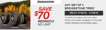 $70 Off Instantly on Any Set of 4 BRIDGESTONE Tires from Costco