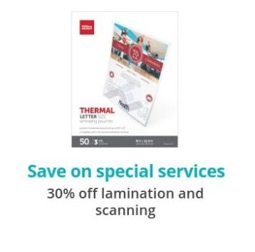 30% Off Lamination and Scanning