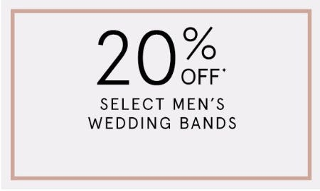 20% Off Select Men's Wedding Bands from Kay Jewelers