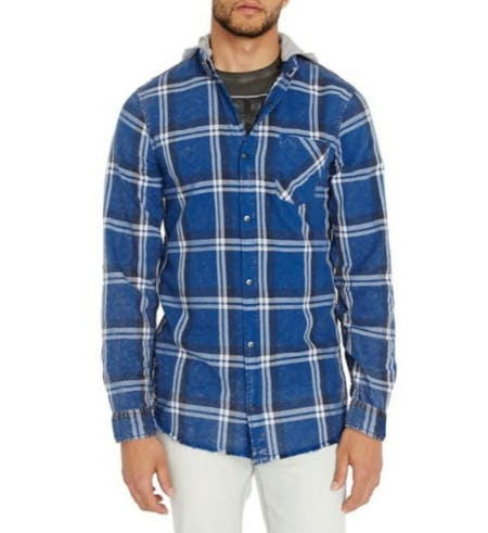 Buffalo David Bitton Plaid Hooded Shirt from Lord & Taylor
