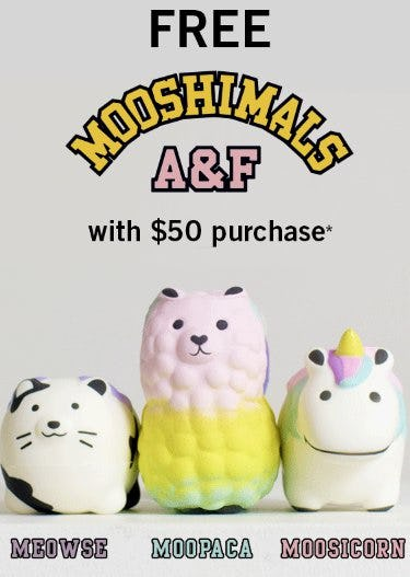 Free Mooshimals with $50 Purchase
