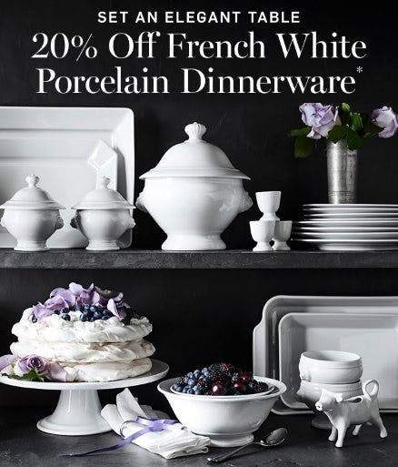 20% Off French White Porcelain Dinnerware from Williams-Sonoma