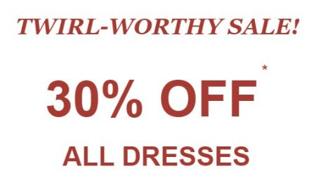 30% Off All Dresses from maurices