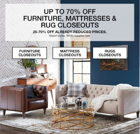 Up to 70% Off Furniture, Mattresses & Rug Closeouts from macy's