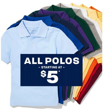 All Polos Starting at $5 from The Children's Place Gymboree